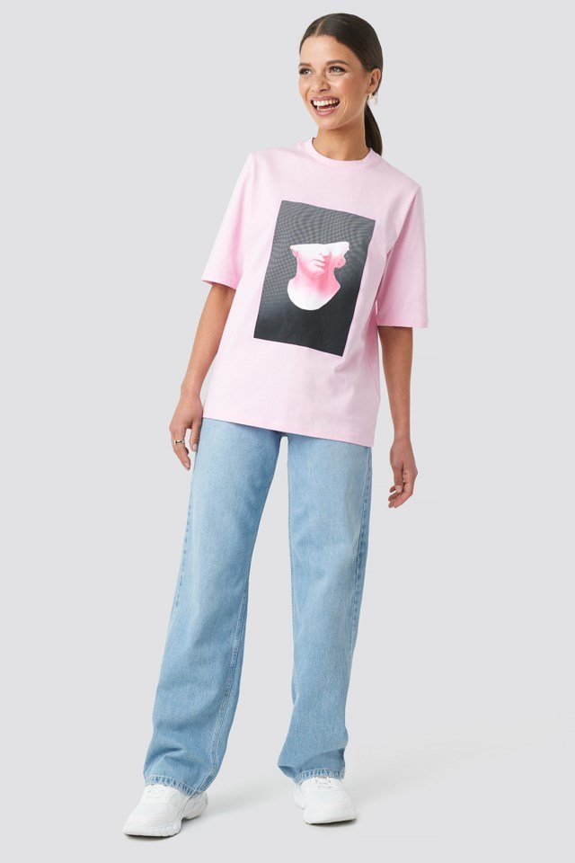 Front Print Tee Pink Outfit