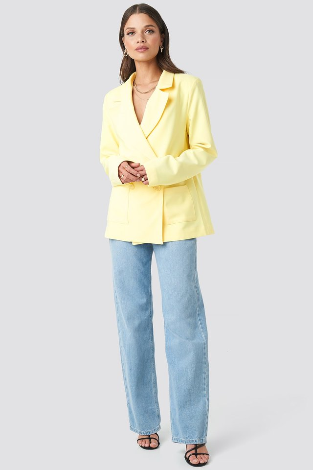 Front Pocket Oversized Blazer Yellow Outfit