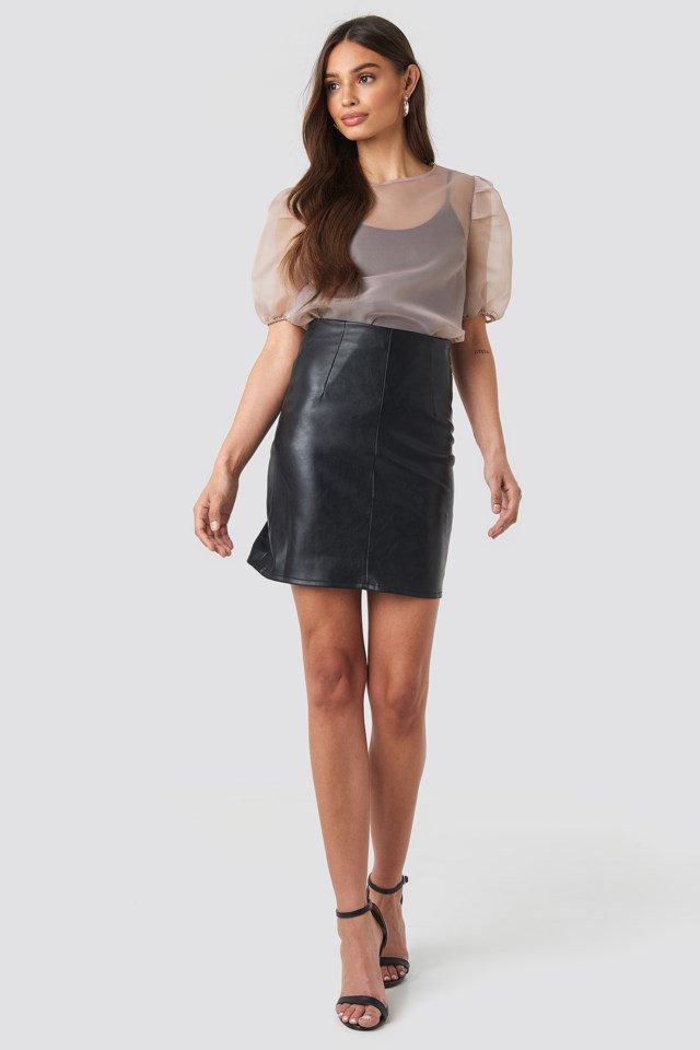 High Waist Short PU Skirt Black Outfit