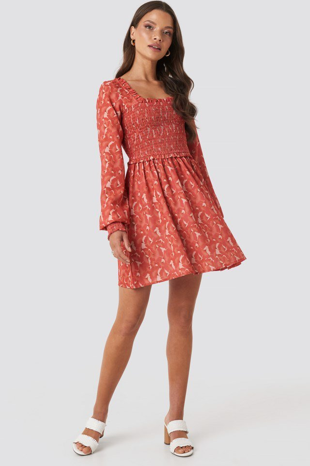 Sandy Smock Mini Dress Red Outfit