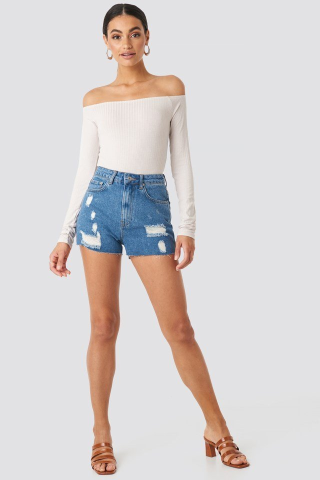 Destroyed High Waist Denim Shorts Blue Outfit