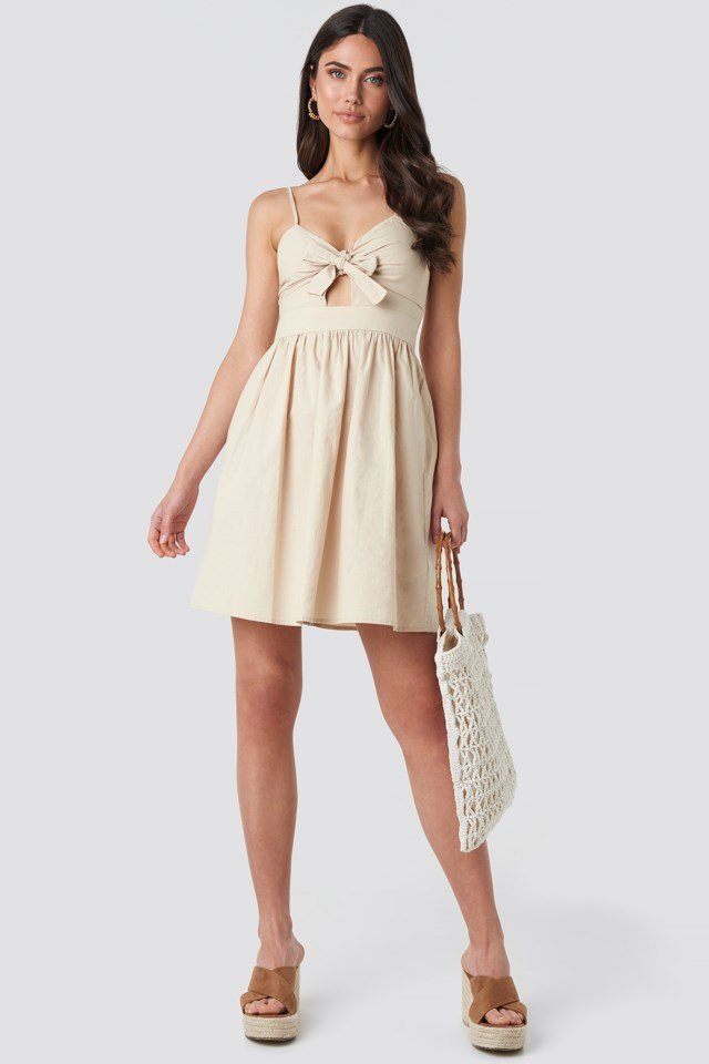 Knot Front Cut Out Dress Beige Outfit
