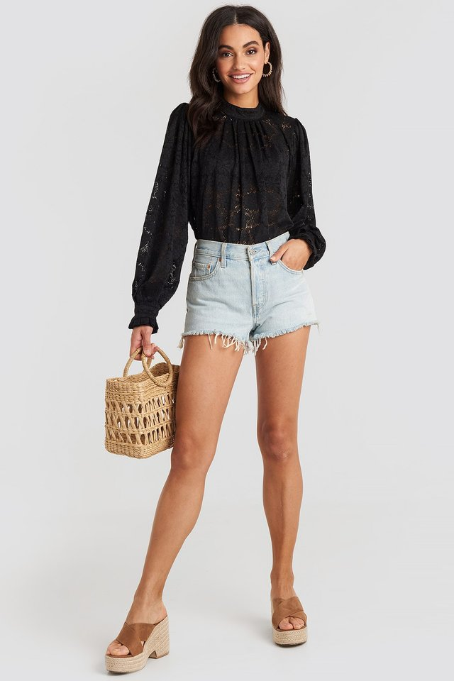 High Collar Flower Lace Blouse Black Outfit