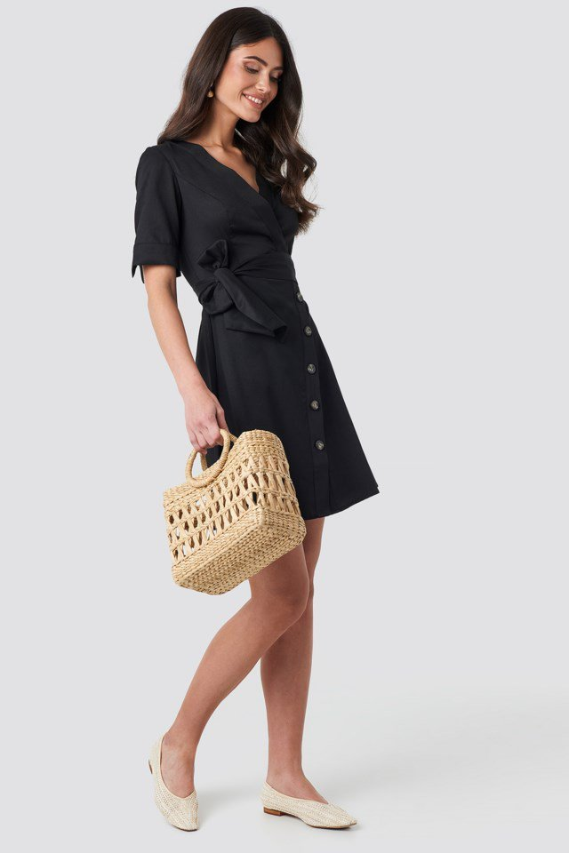 Asymmetric Buttoned Mini Dress Black Outfit