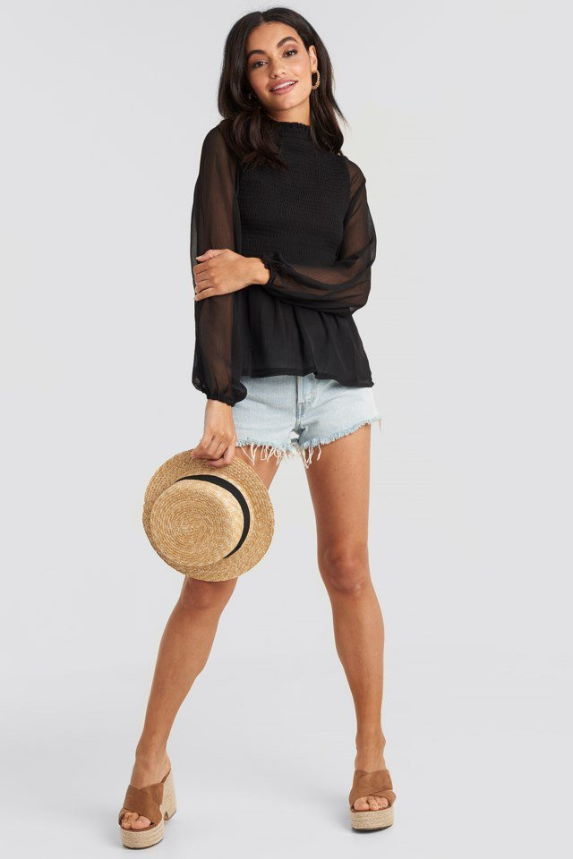 Shirred High Neck Blouse Black Outfit