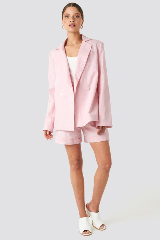 Linen Blend Loose Fitted Blazer Pink Outfit