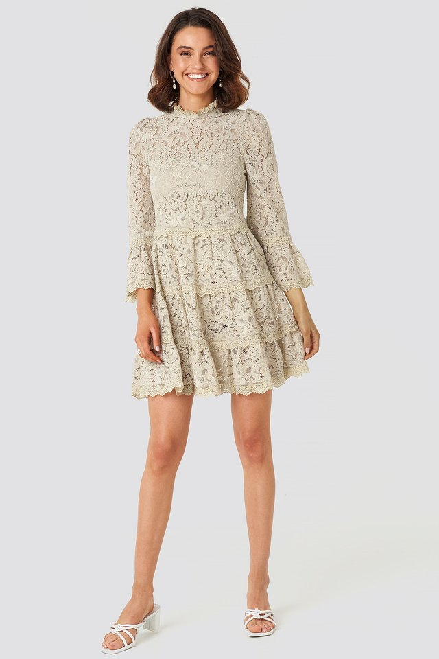 High Neck A-lined Lace Dress Beige Outfit