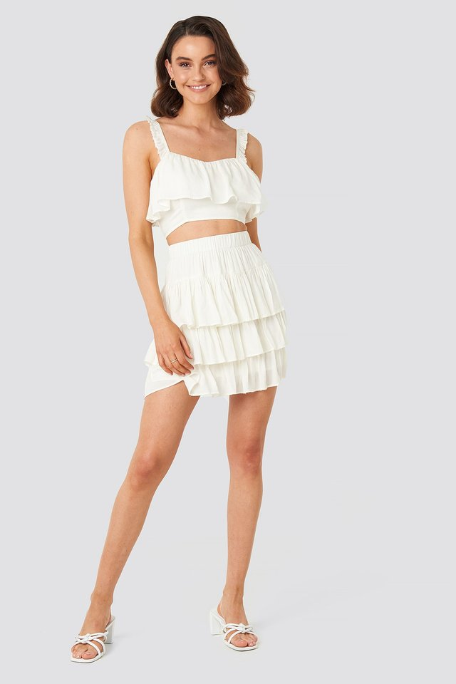 Layered Frill Mini Skirt White Outfit
