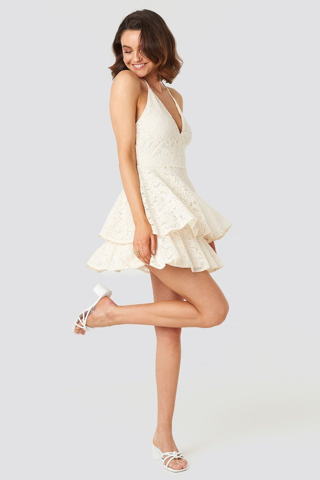Halter Neck Lace Dress Beige Outfit