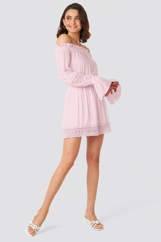 Off Shoulder Lace Detail Frill Dress Pink Outfit