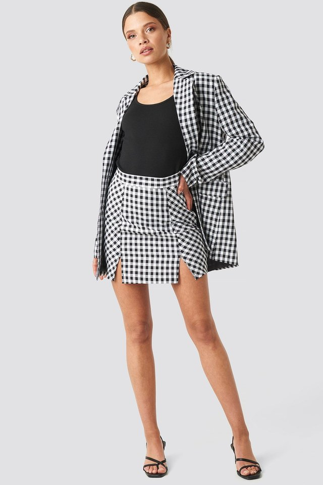 Gingham Double Breasted Blazer Multicolor Outfit