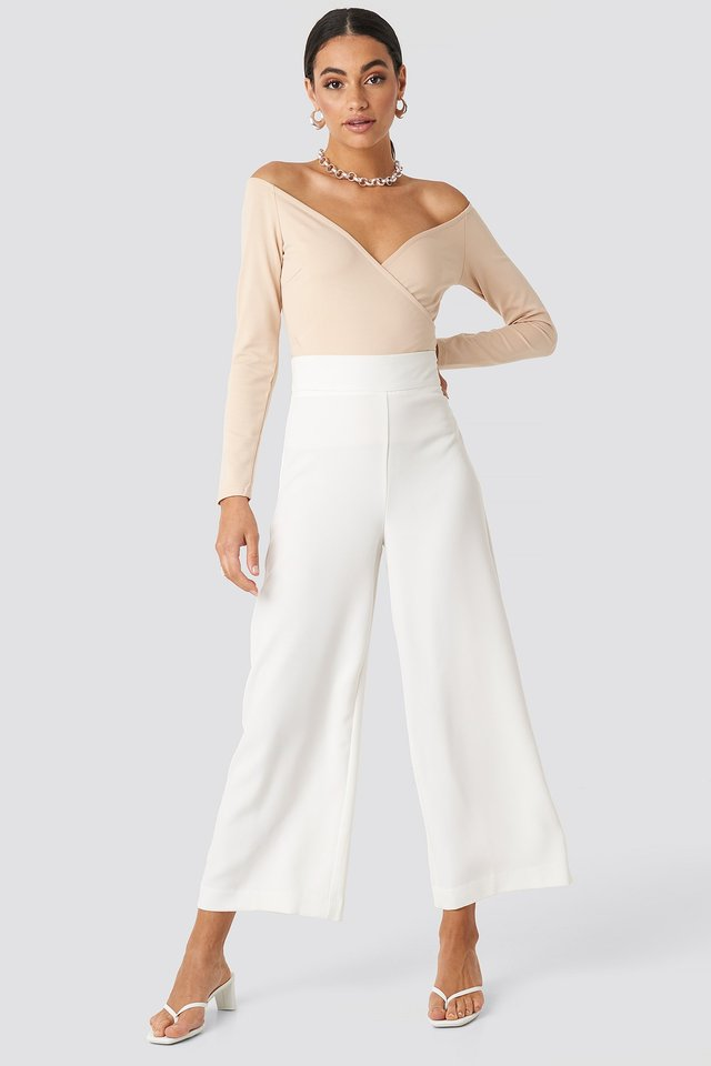 Off Shoulder Overlap Top Beige Outfit