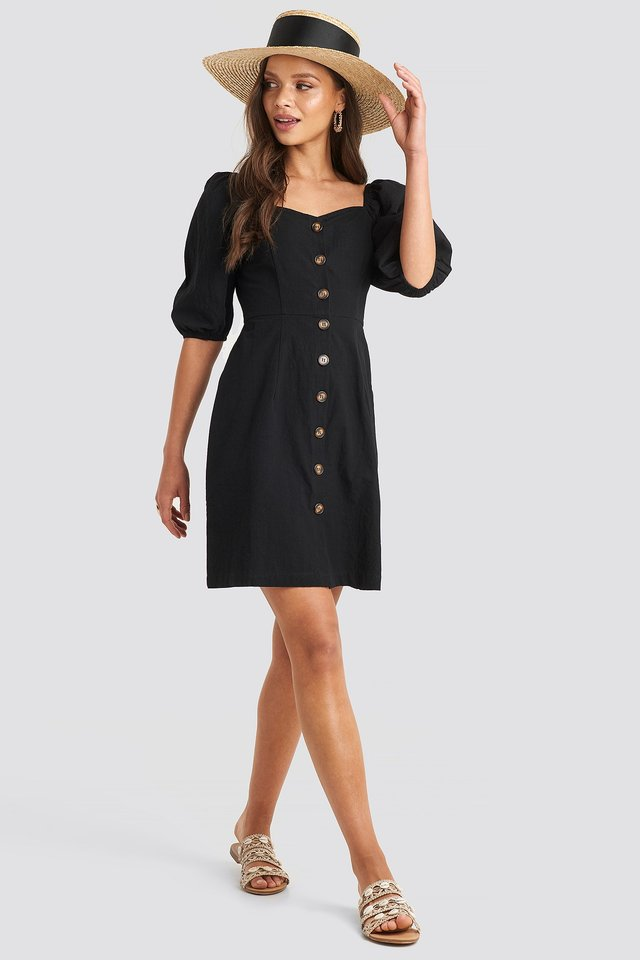 Puff Sleeve Cotton Mini Dress Black Outfit