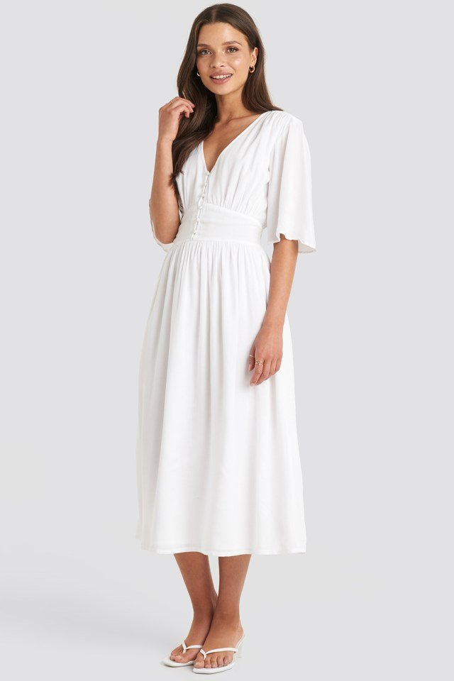 Marked Waist Wide Sleeve Midi Dress White