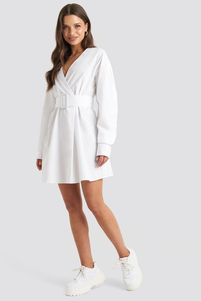 Belted Long Sleeve Shirt Dress White Outfit