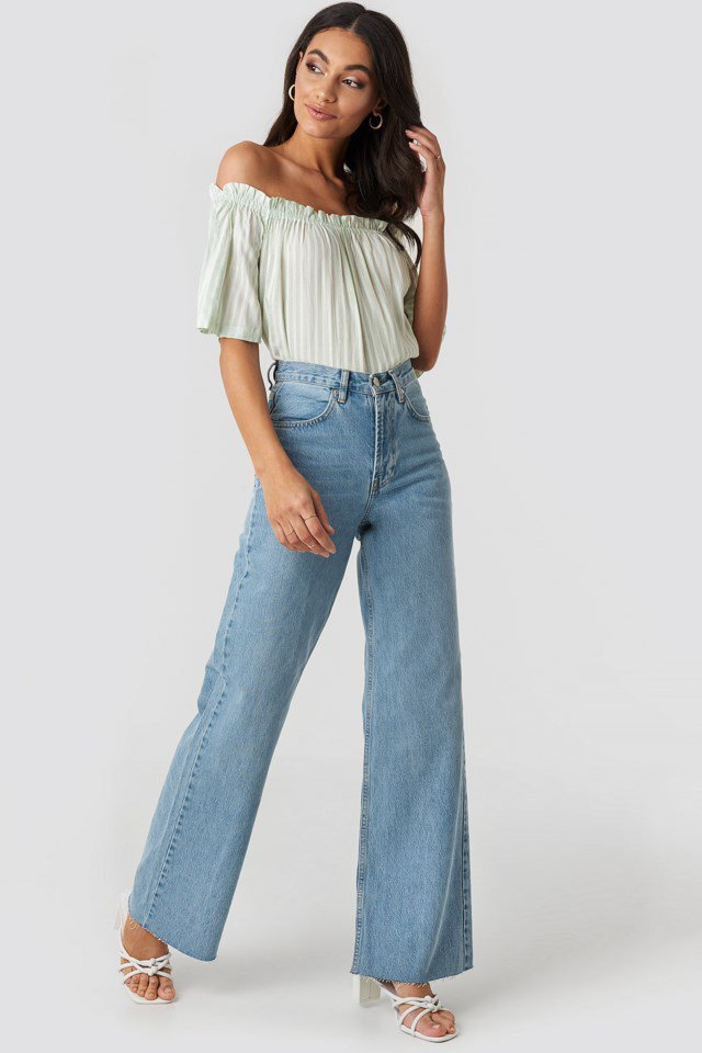 High Rise Wide Leg Jeans Blue Outfit