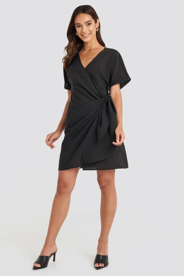 Overlap Knot Mini Dress Black Outfit