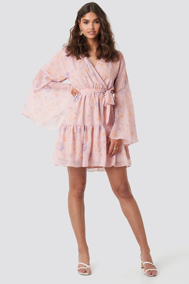 Wide Sleeve Mini Dress Pink