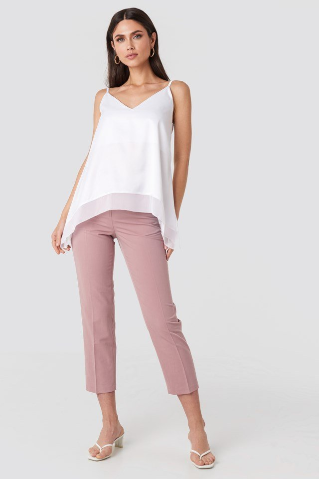 Layered Hem Cami Top White Outfit