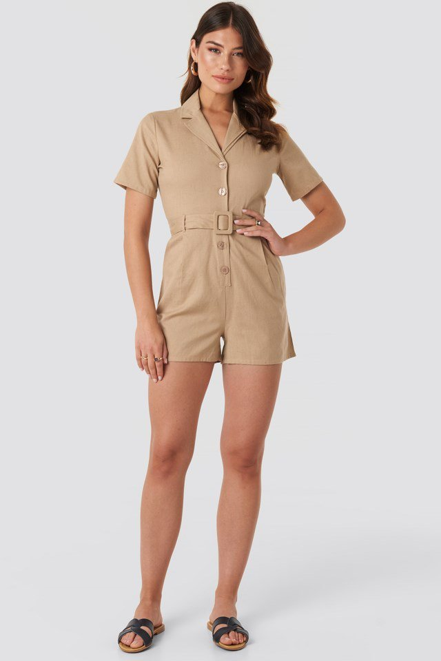 Belted Playsuit Beige Outfit
