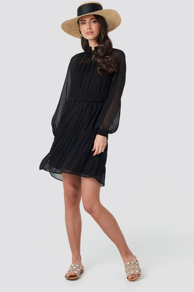 Frill V-Neck Chiffon Mini Dress Black