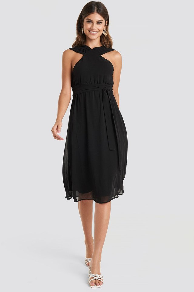 Wide Strap Halter Neck Midi Dress Black