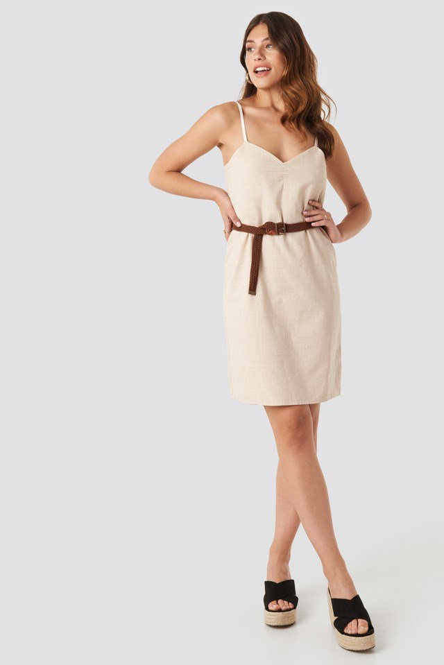 Strap Linen Mini Dress Beige Outfit