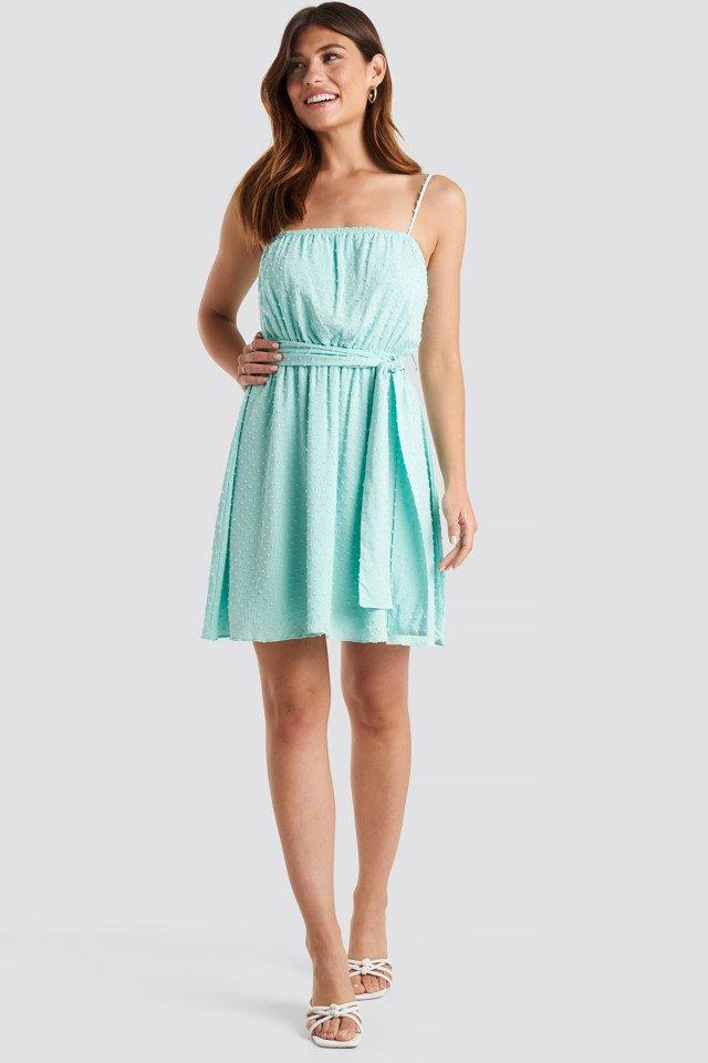 Mini Strap Mini Dress Blue Outfit