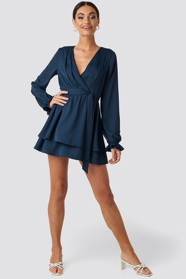 V-Neck Tied Front Flowy Dress Blue