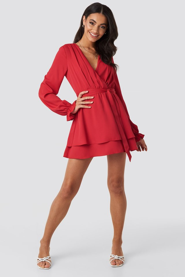 V-Neck Tied Front Flowy Dress Red