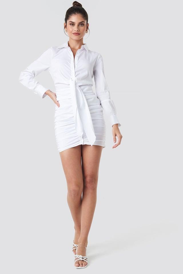 Front Knot Gathering Shirt Dress White