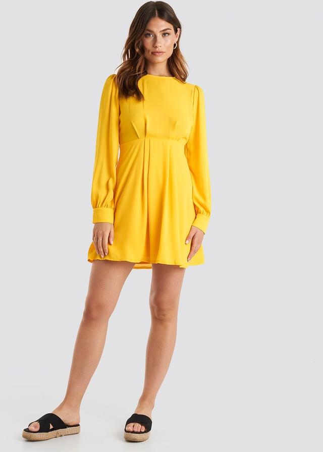 Open Back Flowy Mini Dress Yellow