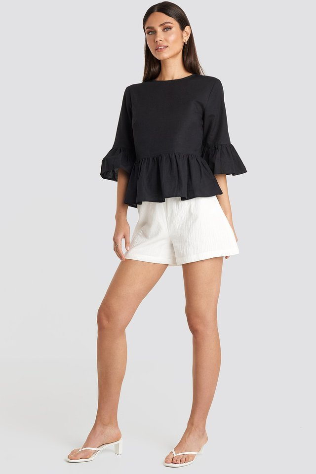 Ecru Structured Tied Waist Shorts