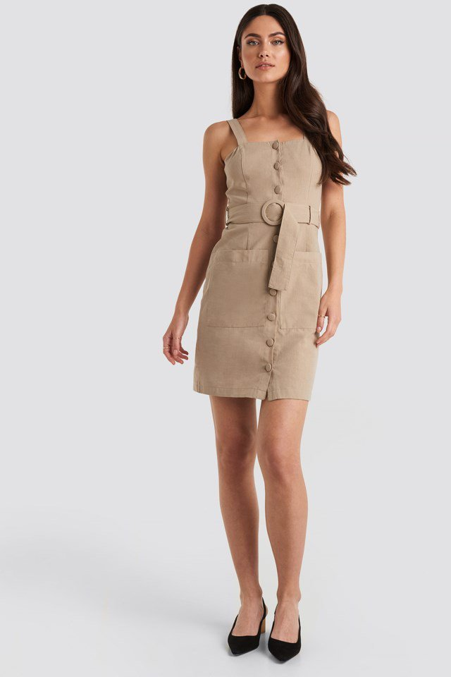 Yol Belted Midi Dress Beige Outfit
