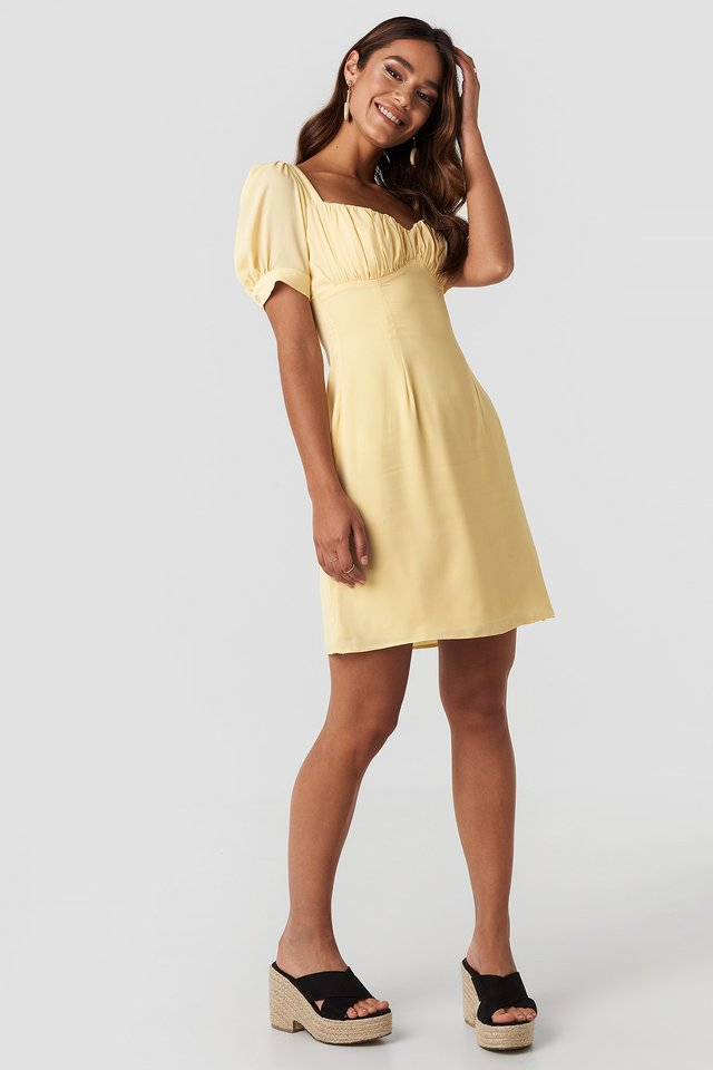 Bust Puff Sleeve Mini Dress Yellow Outfit