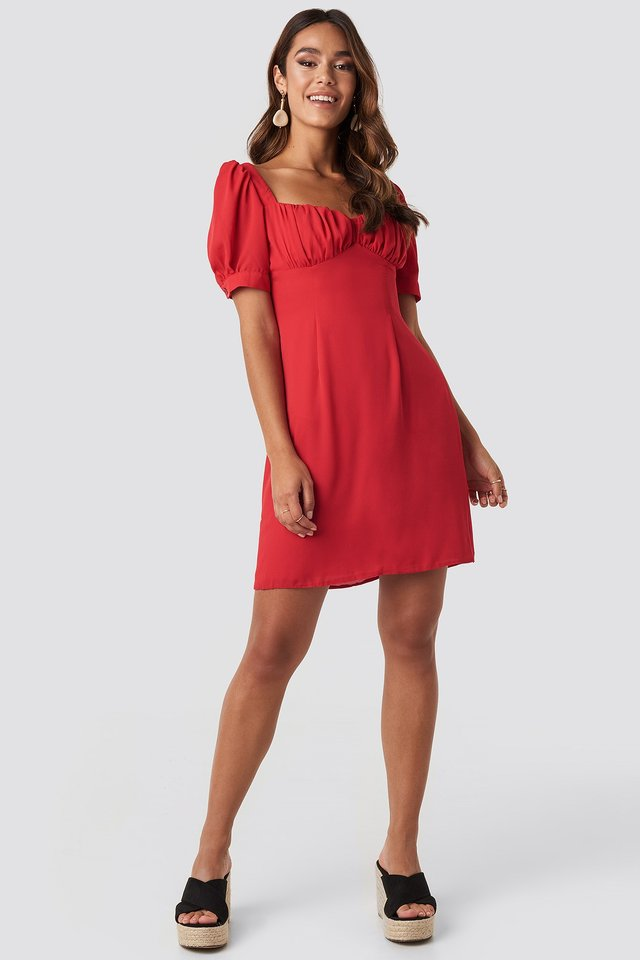 Bust Puff Sleeve Mini Dress Red Outfit
