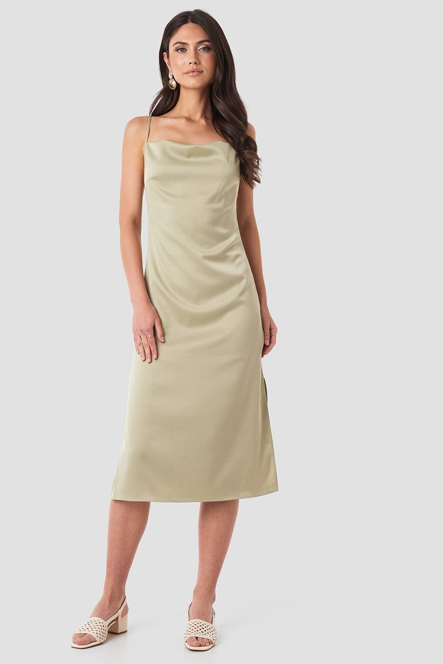 Satin Midi Slip Dress Green Outfit