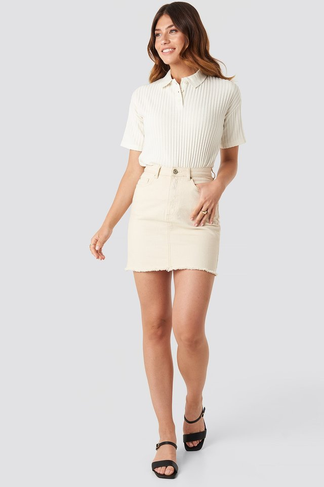 Ribbed Short Sleeve Sweater White