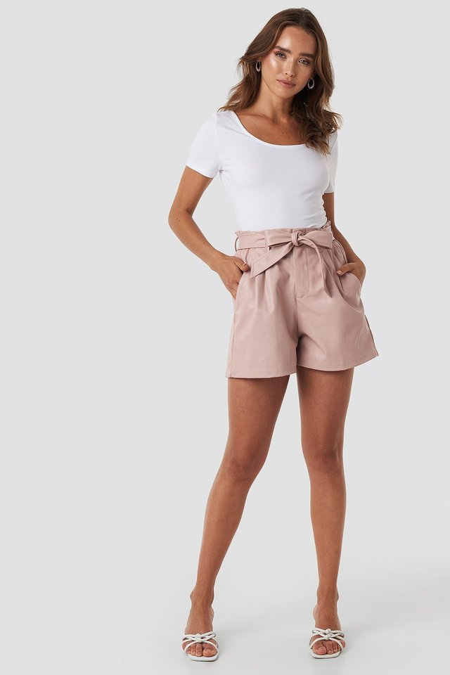 Faux Leather Paperbag Shorts Pink
