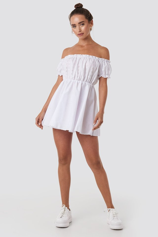 Bardot Broderie Anglaise Skater Dress White