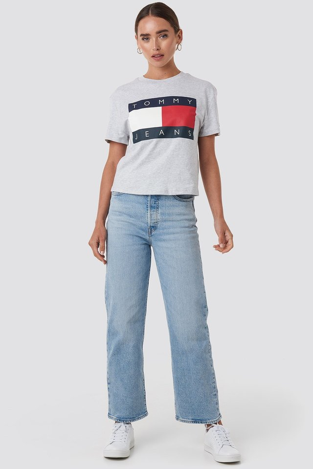 Tommy Flag Tee Grey