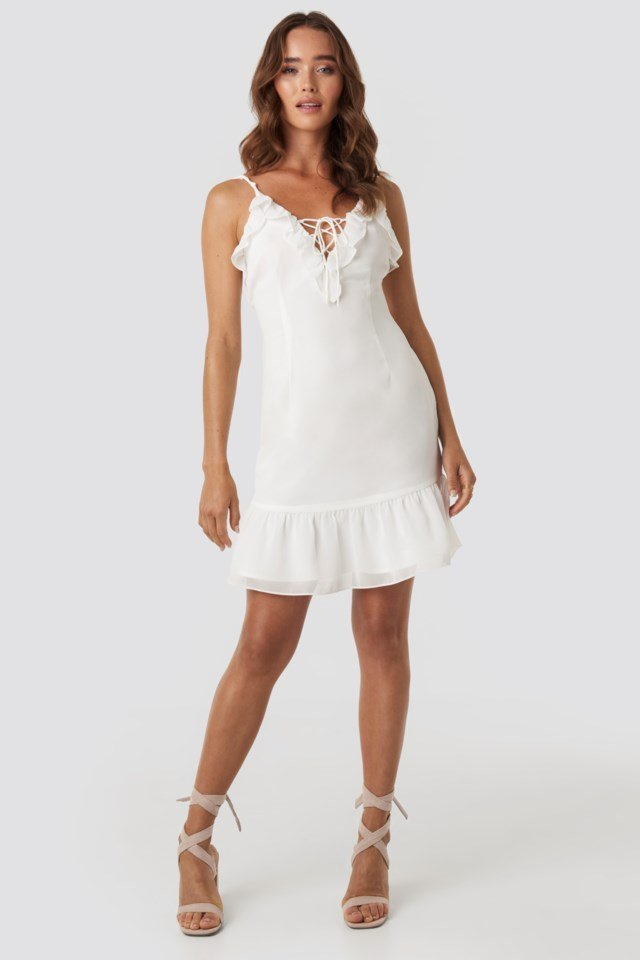 Tie Detail Frilled Dress White Outfit