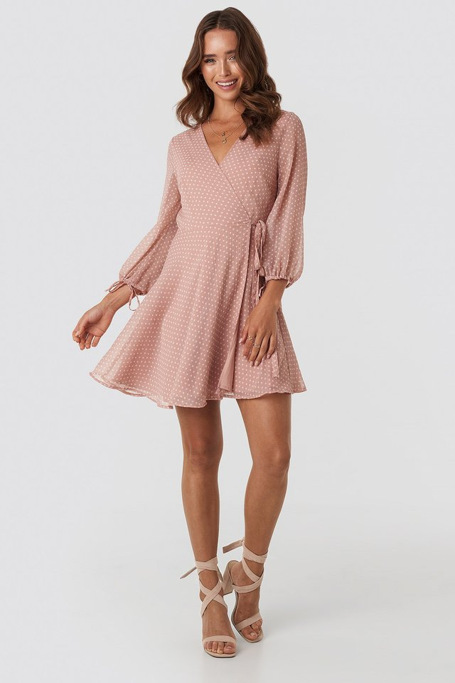 Dotted Wrap Mini Dress Pink Outfit