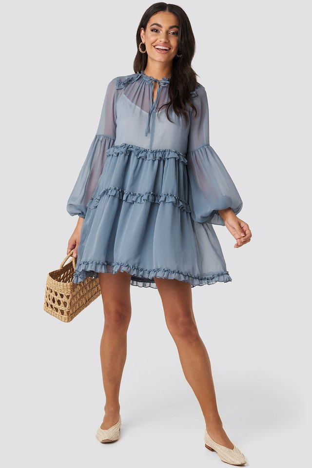Multi-Frills LS Chiffon Dress Blue Outfit.