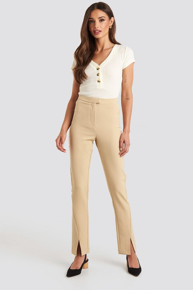 Button Short Sleeve Top White Outfit