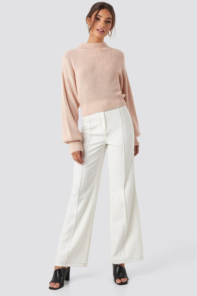 Volume Sleeve High Neck Knitted Sweater Pink