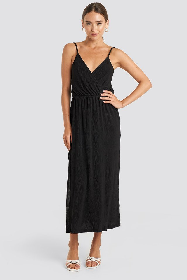 Plisse Wrap Midi Dress Black