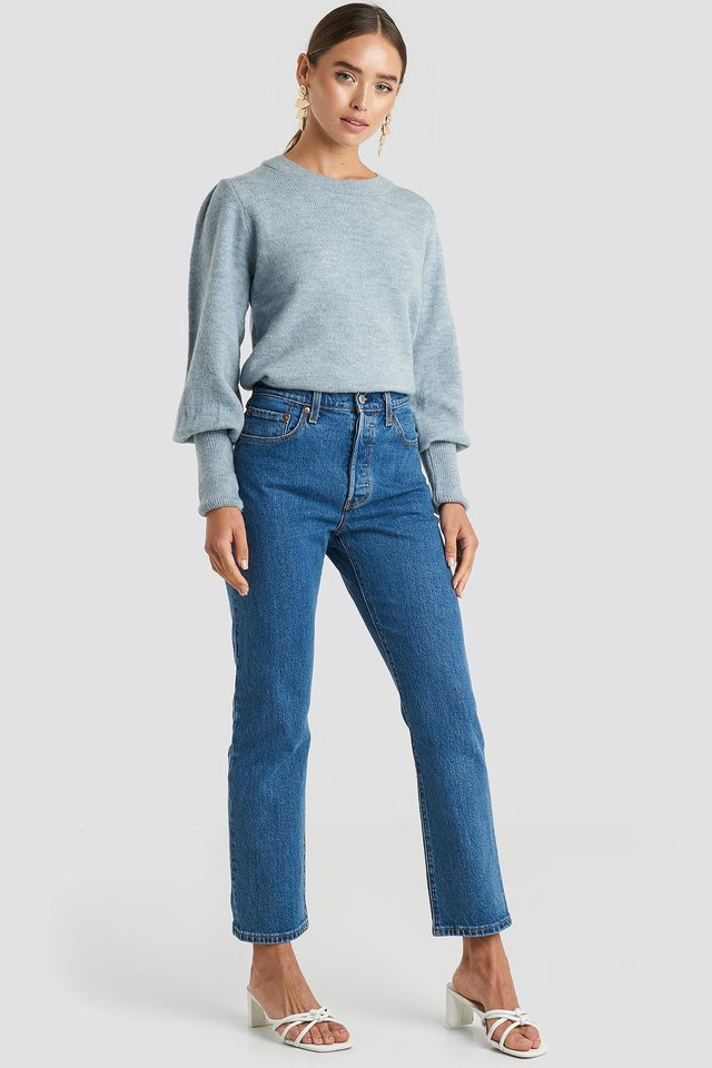 Puff Sleeve Wide Rib Knitted Sweater Blue