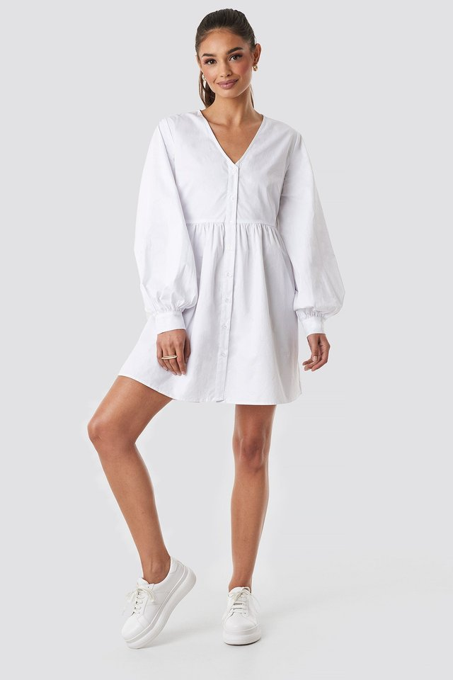 Balloon Sleeve Mini Shirt Dress White
