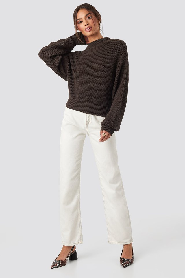 Volume Sleeve High Neck Knitted Sweater Brown